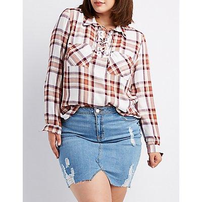Plus Size Plaid Lace-Up Pocket Shirt