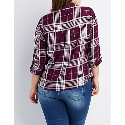 Plus Size Plaid Lace-Up Pocket Shirt