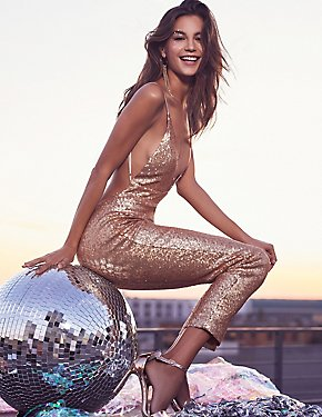 Sequins Strappy-Back Jumpsuit