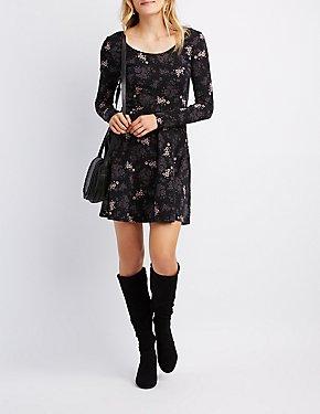 Floral Scoop Neck Skater Dress