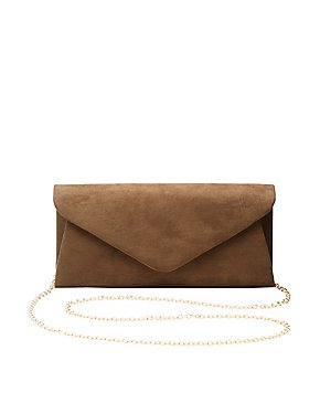 Faux Suede Convertible Clutch