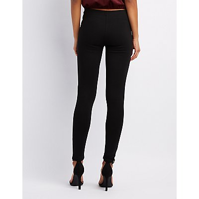 Zip High-Rise Ponte Knit Leggings