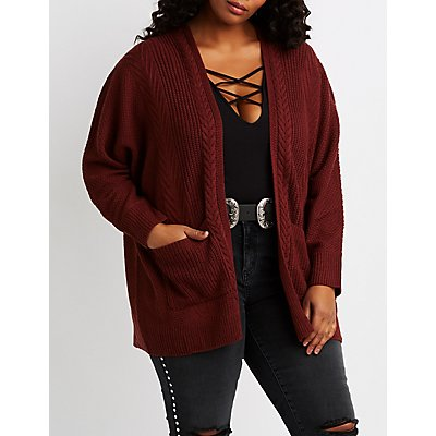 Plus Size Mixed Knit Open-Front Cardigan