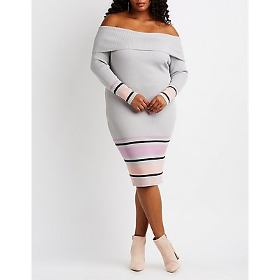 Plus Size Ribbed & Striped Off-The-Shoulder Bodycon Dress
