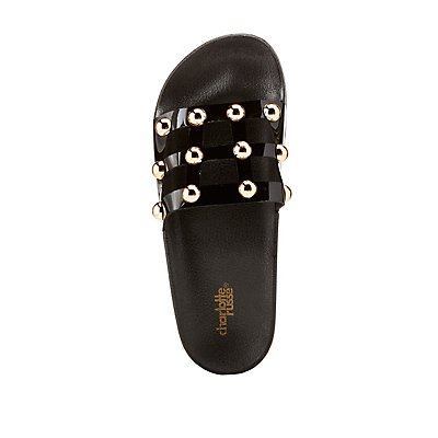 Caged Stud Slide Sandals by Charlotte Russe