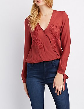 Floral Embroidered Deep Wrap Top
