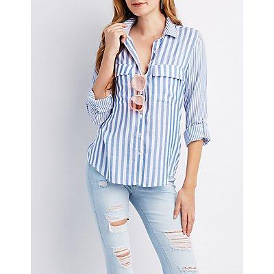Striped Button-Up Pocket Shirt