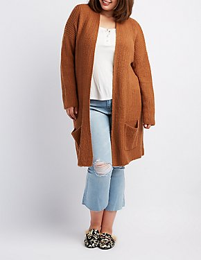 Plus Size Waffle Knit Open-Front Cardigan