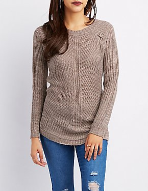 Shaker Stitch Lace-Up Sweater