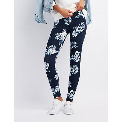 Floral Stretch Cotton Leggings