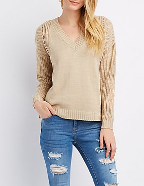 Shaker Stitch Lace-Up Back Sweater