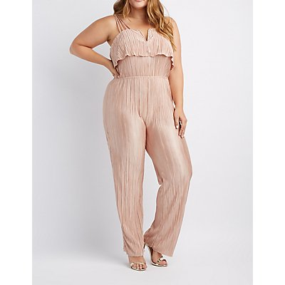 Plus Size Pleated Notched Ruffle Jumpsuit