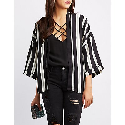 Striped Cropped Kimono