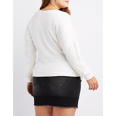 Plus Size Lace-Up Graphic Sweatshirt