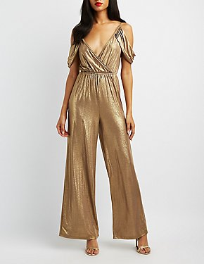 Metallic Cold Shoulder Surplice Jumpsuit