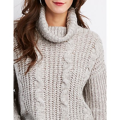 Mixed Stitch Cowl Neck Pullover Sweater