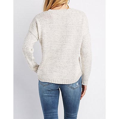 Embroidered High-Low Pullover Sweater