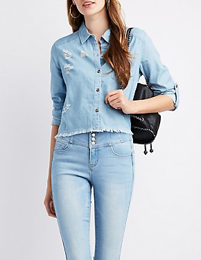 Chambray Destroyed Cropped Button-Up Shirt