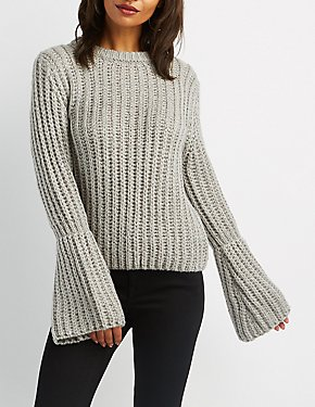 Lurex Bell Sleeve Pullover Sweater