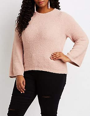 Fuzzy Bell Sleeve Pullover Sweater