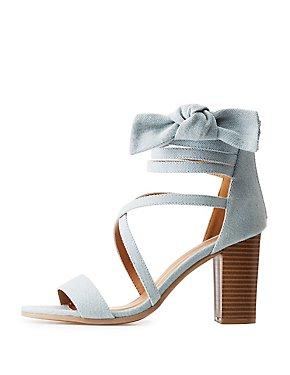 Crisscross Bow Block Heel Sandals