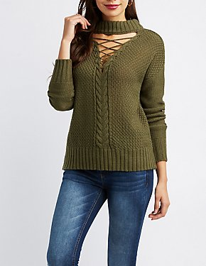 Lattice-Front Mock Neck Sweater