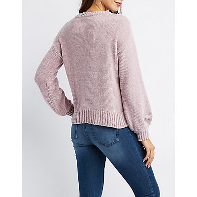 Chenille Crew Neck Sweater