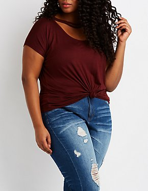 Plus Size Strappy Cut-Out Knotted Tee