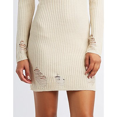 Destroyed Turtle Neck Sweater Dress