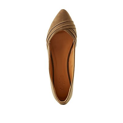 Pleated Pointed Toe Flats