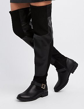 Faux Nubuck Buckled Over-The-Knee Boots