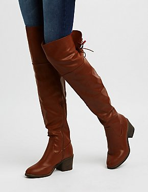 Bamboo Faux Leather Over-The-Knee Lace-Up Boots