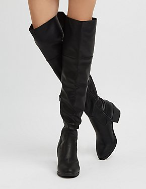 Bamboo Faux Leather Lace-Up Over-The Knee Boots