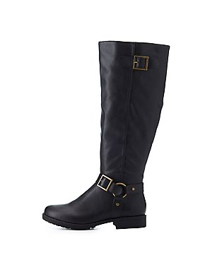 Bamboo Buckled Riding Boots