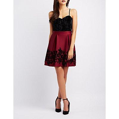 Flocked Velvet Skater Dress