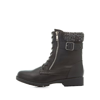 Bamboo Knit-Trim Combat Boots