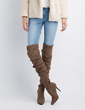 Faux Suede Ruched Pointed Toe Over-The-Knee Boots