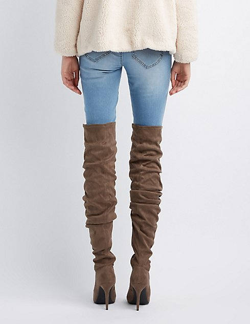 63eb00b4dac Faux Suede Ruched Pointed Toe Over-The-Knee Boots