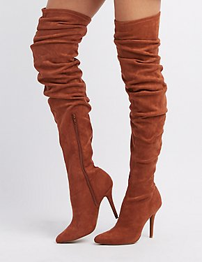 Ruched Pointed Toe Over-The-Knee Boots