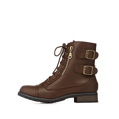 Bamboo Two-Buckle Combat Boot