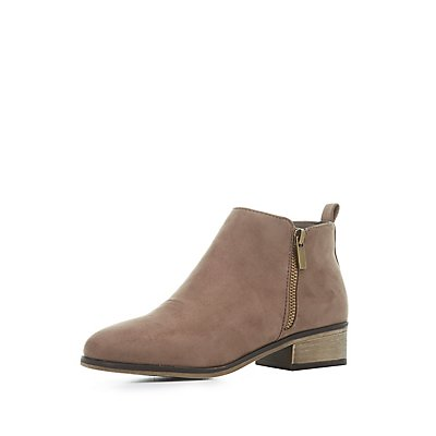 Bamboo Faux Suede Ankle Booties
