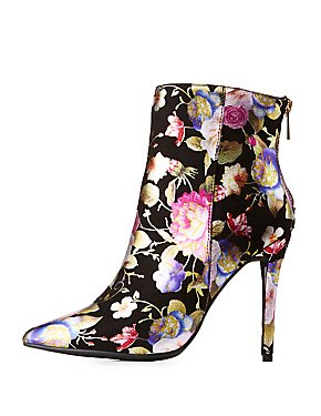 Floral Print Ankle Booties