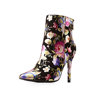 Floral Print Ankle Booties