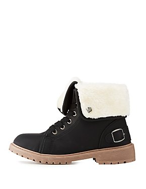 Faux Shearing Lace-Up Boot