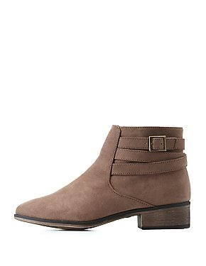 Bamboo Suede Belted Ankle Booties