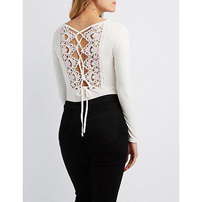 Ribbed Knit Lace-Back Bodysuit