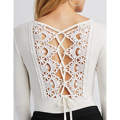 Ribbed Knit Lace-Back Bodysuit