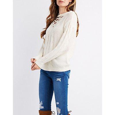 Mixed Stitch Lace-Up Sweater
