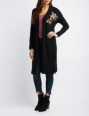 Floral Patch Longline Duster Cardigan
