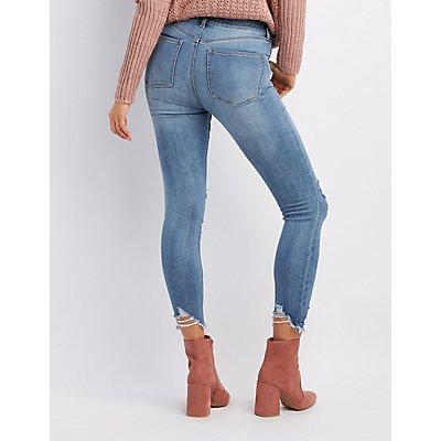 Refuge Hi-Rise Frayed Hem Skinny Jeans